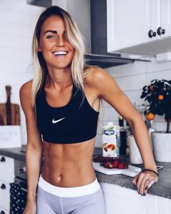 Girl after crossfit at home workout