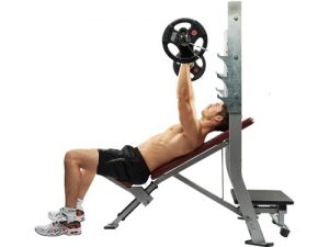 An inclined bench press